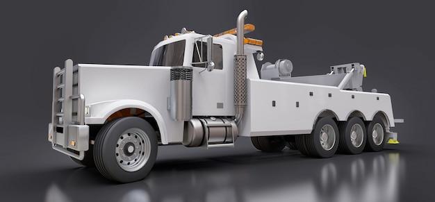 Witte sleepwagen om andere grote vrachtwagens of verschillende zware machines te vervoeren. 3d-weergave.