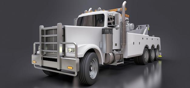 Witte sleepwagen voor het transport van andere grote vrachtwagens of diverse zware machines