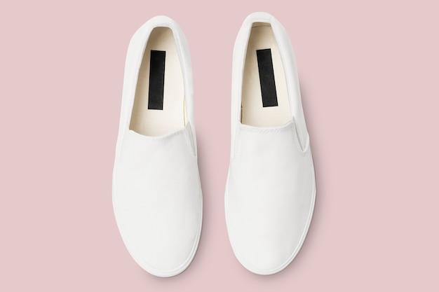 Witte slip-on unisex streetwear sneakers fashion