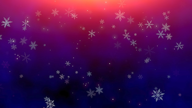 Witte sneeuwvlokken en abstracte deeltjes die op glanzende achtergrond vallen. luxe en elegante dynamische stijl 3d illustratie voor wintervakantie