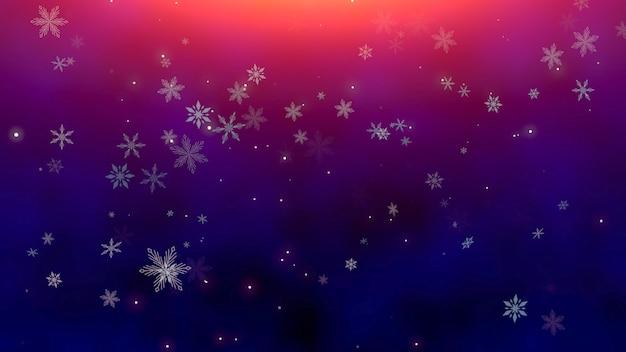 Witte sneeuwvlokken en abstracte deeltjes vallen. gelukkig nieuwjaar en merry christmas glanzende achtergrond. luxe en elegante dynamische stijl 3d illustratie voor wintervakantie