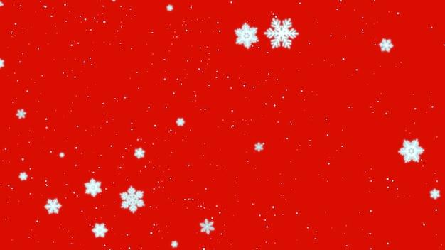 Witte sneeuwvlokken en deeltjes die op rode achtergrond vallen. luxe en elegante dynamische stijl 3d illustratie voor wintervakantie