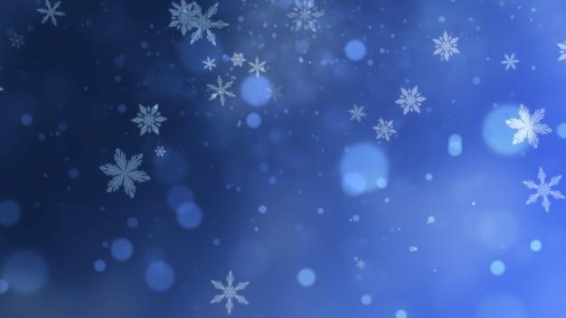 Witte sneeuwvlokken, sterren en abstracte bokehdeeltjes vallen. gelukkig nieuwjaar en merry christmas glanzende achtergrond. luxe en elegante dynamische stijl 3d illustratie voor wintervakantie