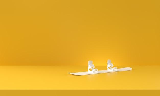 Witte snowboarden op gele achtergrond. 3d-rendering.