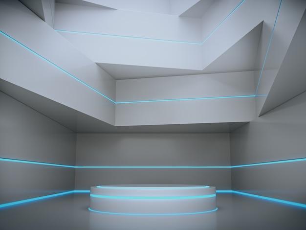 Witte sokkel met lichte gloed voor productshowcase op futuristische kamer