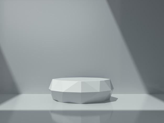 Witte sokkel voor productshow in witte kamer