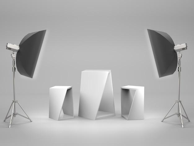 Witte sokkel voor productshow met lichtbak in studioruimte. 3d-weergave