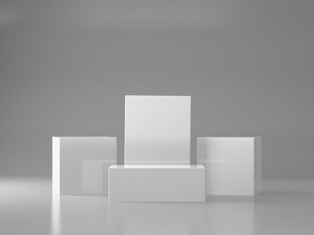 Witte sokkels voor productshow in witte kamer