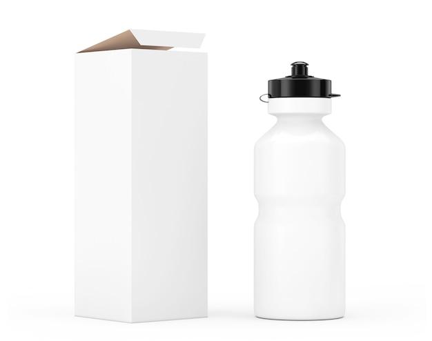 Witte sport plastic waterfles mockup met kartonnen kraftpapier doos verpakking op een witte achtergrond. 3d-rendering