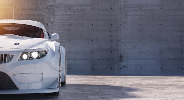 Witte sportwagen met copyspace