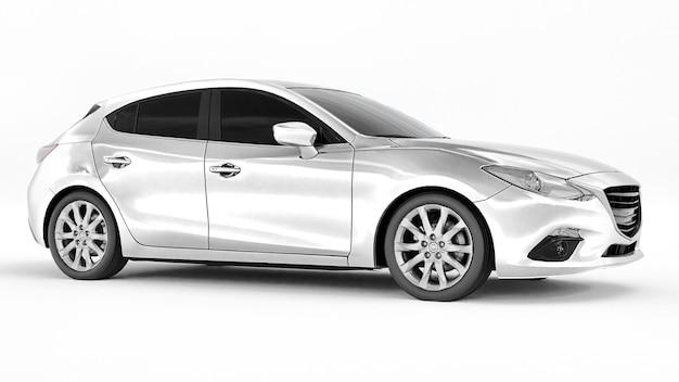 Witte stadsauto met blanco oppervlak voor uw creatieve ontwerp. 3d-weergave.