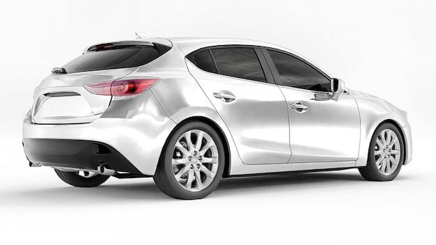 Witte stadsauto met leeg oppervlak voor uw creatieve ontwerp 3d-rendering