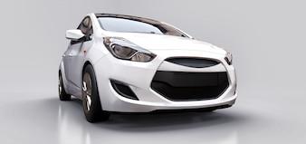 Witte stadsauto met leeg oppervlak voor uw creatieve ontwerp. 3D-rendering.