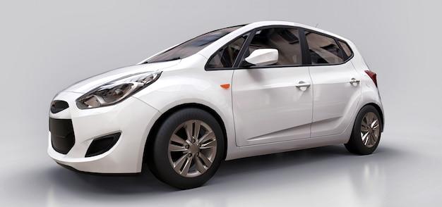 Witte stadsauto met lege oppervlakte voor uw creatief ontwerp