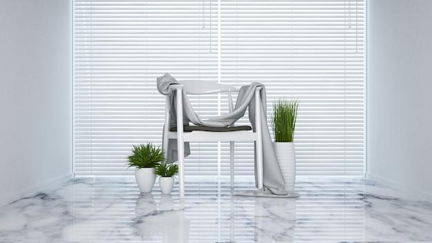 Witte stoel in de woonkamer - 3d-rendering