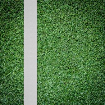Witte streep op het groene voetbalveld van bovenaanzicht