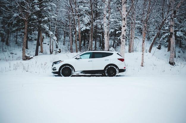Witte suv op de weg