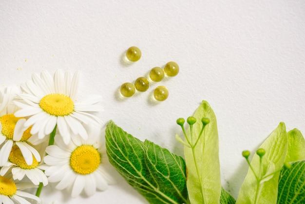 Witte tabletten in kraft klubke, groene blad medicinale planten, homeopathische geneeskunde. bladbloemen en vruchten van linde, kamillebloemen.