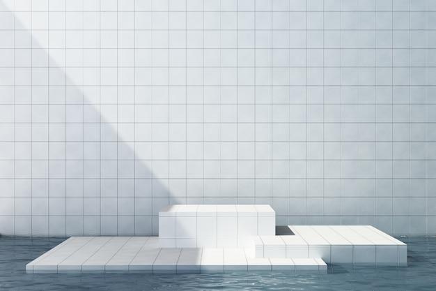 Witte tegels productstandaard op witte tegelsachtergrond