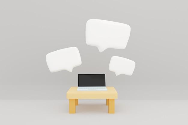 Witte tekstvak gesprek toespraak pop-up op laptopcomputer in witte kamer 3d illustratie