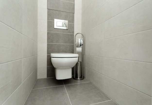 Witte toiletpot in moderne badkamer met papierhouder en toiletborstel.