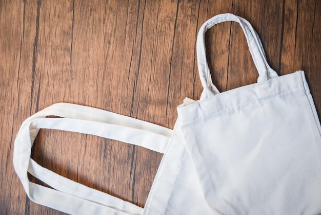 Witte tote canvas eco tas doek shopping zak nul afval gebruik minder plastic