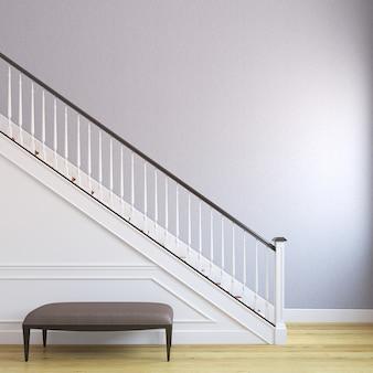 Witte trap in het moderne huis. 3d render.