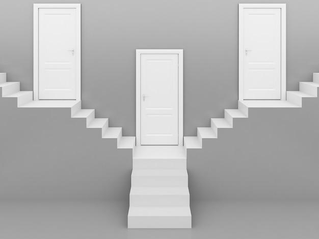 Witte trap met witte deur in grijs, achtergrond, 3d-rendering