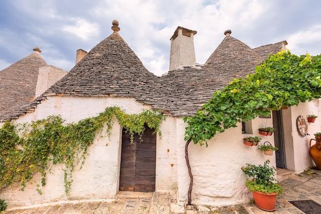 Witte trulli gebouwen en wijnstok. alberobello, apulië, italië
