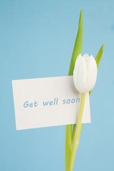 Witte tulp met een beterschapkaart op een blauwe achtergrond