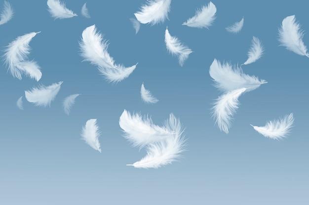Witte veren die in de lucht vallen.