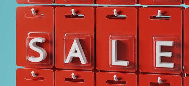Witte verkoop letters in rode blisterverpakking op blauwe achtergrond