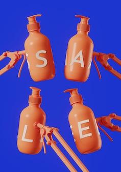 Witte verkoop letters op koraal cosmetische fles met verstelbare klem en blauwe achtergrond
