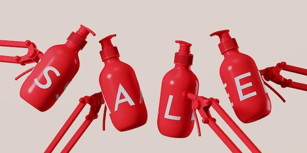 Witte verkoopletters op rode cosmetische fles met verstelbare klem