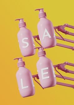 Witte verkoopletters op roze cosmetische fles met verstelbare klem