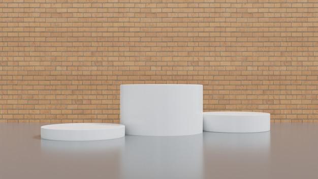 Witte vertoning of podium voor showproduct en lege ruimte en bakstenen muurachtergrond.