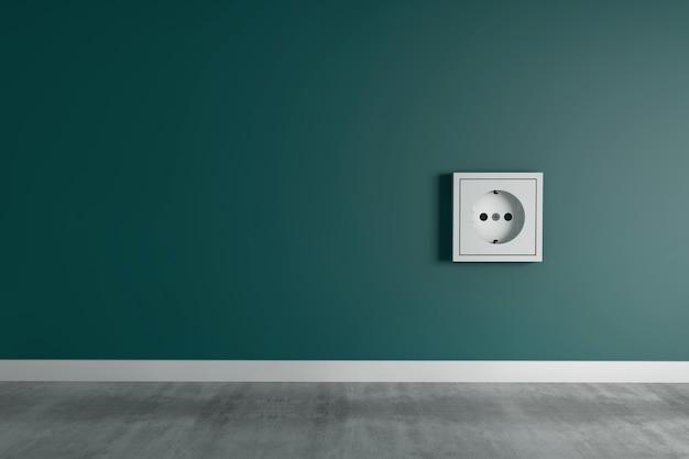 Witte vierkante uitlaat op groene muur in een huis