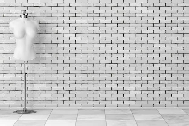Witte vintage tailor women mennequin voor bakstenen muur. 3d-rendering