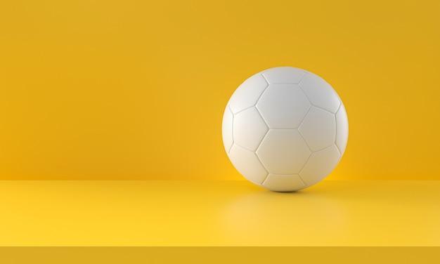 Witte voetbal op gele achtergrond. 3d-rendering.