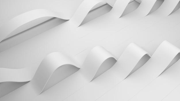 Witte vouwen van strepen op een oppervlak. vervormd gekreukt oppervlak met zacht licht. moderne lichte achtergrond met rimpels in minimalistische stijl. 3d render illustratie.