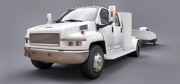Witte vrachtwagen met aanhangwagen voor het transport van raceboot op grijs