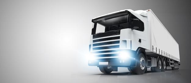 Witte vrachtwagen op een grijze achtergrond