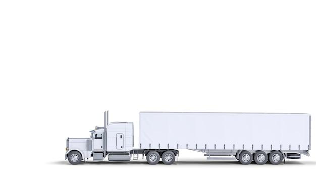 Witte vrachtwagen voor transport. logistiek en transportconcept. 3d render.