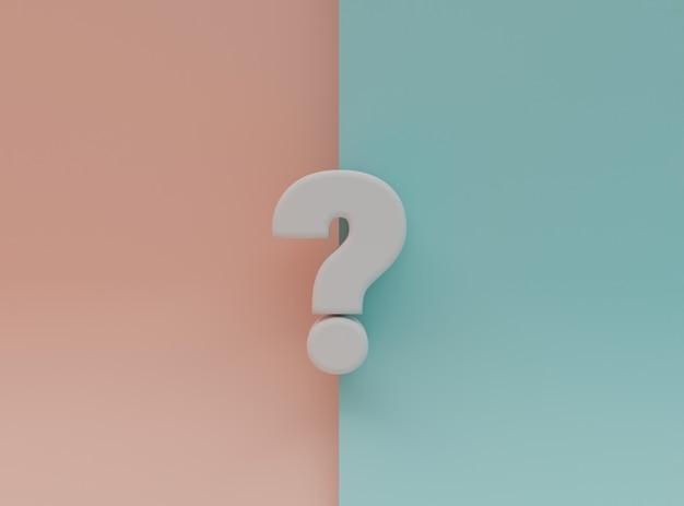Witte vragen markeren illustratie op blauwe en roze achtergrond voor faq en vraag- en antwoordtijd door 3d-rendering.