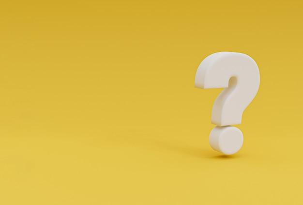 Witte vragen markeren illustratie op gele achtergrond en kopiëren ruimte voor faq en vraag- en antwoordtijd door 3d-rendering.