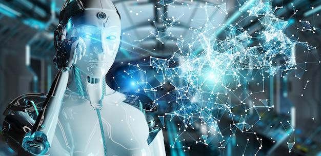 Witte vrouw humanoid die het digitale bol hud interface 3d teruggeven gebruiken