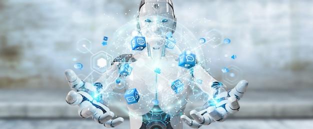 Witte vrouwenrobot die het digitale scherminterface 3d teruggeven gebruiken