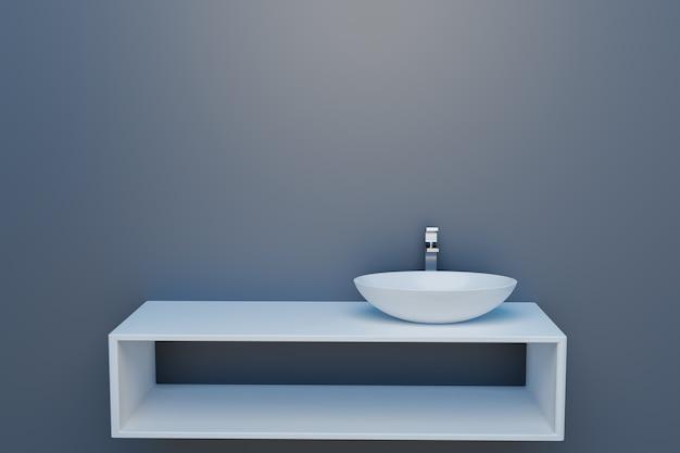 Witte waskom in minimale badkamer, 3d illustratieweergave