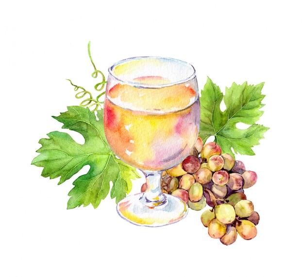 Witte wijn glas met wijnbladeren en druiven bessen.