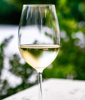 Witte wijn in luxe restaurant op tuinterras wijnproeverij bij wijnmakerij in de vi...